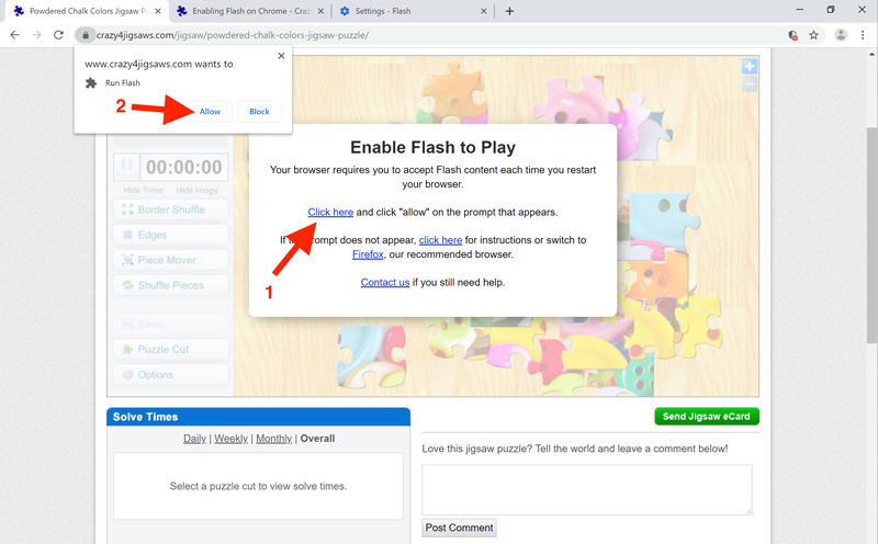 Enabling Flash On Chrome Crazy4jigsaws Com Welcome to daily jigsaw puzzles the only site where you can play a new free online puzzle game every day. enabling flash on chrome